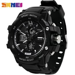dual time watches men UK - Skmei Men Sports Watches LED Digital Quartz Watch Dual Time Water Resistant Outdoor Relogio Masculino Man Wristwatches 0990