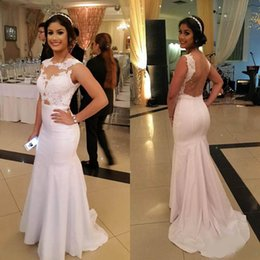$enCountryForm.capitalKeyWord Australia - Custom Made Mermaid Jewel Sweep Train White Ivory Taffeta Prom Dresses ace Sheer Back Pearls Evening Formal Women Gowns