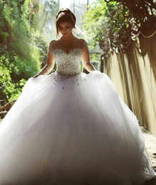 Sexy Open Ball Image Australia - Bling Crystal Wedding Dress white long sleeves tulle puffy ball gown wedding dresses sexy open back turkey beaded boho robe de mariée 2019