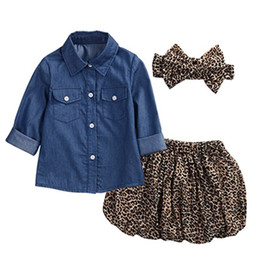 leopard print clothes for baby girls Australia - Baby Girls Clothes 3pcs Sets Children Cowboy Shirt Leopard print Skirt and Headdress Suits for Kids fit 1-5 Years