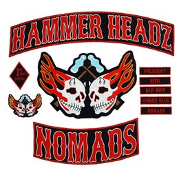 punk back patches NZ - HAMMER HEADZ HOMADS large punk embroidered iron on backing biker patch badge for jacket jeans 10 pieces  SET