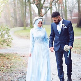 vintage wedding dresses for plus size NZ - Vintage Sky Blue Chiffon Lace Muslim Wedding Dresses With Long Sleeves Sweep Train Plus Size Custom Made Bridal Wedding Gowns For Garden