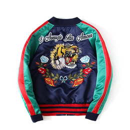 Wholesale japanese style jackets men for sale – winter Japanese Style Tiger Embroidery Jacket Men Women Fashion Vintage Baseball Stripe Male Bomber Jackets Size S XL