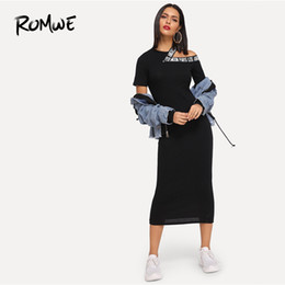 $enCountryForm.capitalKeyWord Australia - Romwe Hollow Out Neck Letter Print Dress 2019 Chic Short Sleeve Bodycon Slim Dress Swish Women Sexy Summer Long Dress Y190507