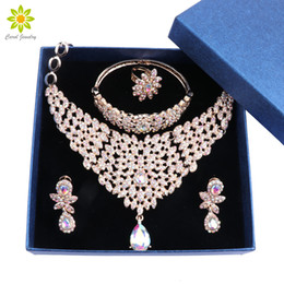 jewelry set gifts box NZ - Fashion African Women Wedding Jewelry Sets Dubai Vintage Crystal Necklaces Bracelet Ring Earrings Jewellery Sets with Gift Boxes