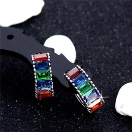 China Made Silver NZ - Wholesale- SHUANGR Top Quality Created Red Garnet Hoop Earrings For Women Silver Color Jewelry Lovely Jewelry Box Made in China