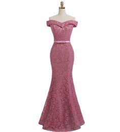 Lavender Blush Wedding Dress Australia - New Mermaid Bridesmaid Dresses Off Shoulder Blush Pink Lace Maid of Honor Dresses Formal Wedding Guest Dress vestidos de fiesta