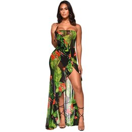 wholesale maxi evening dresses UK - Elegant Women Maxi Dress Ladies Formal Party Evening Sexy Summer Beach Suspenders Dress Vestidos High Split