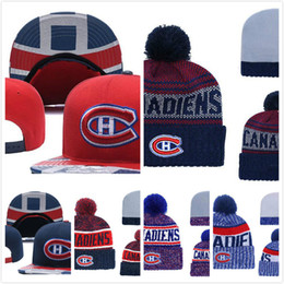 best service 9d1d7 73ff0 Men s Montreal Canadiens Ice Hockey Knit Beanie Embroidery Adjustable Hat  Embroidered Snapback Caps Red White Blue Stitched Knit Hat