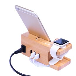 Wholesale Bamboo wood Ports USB Charger V3A for Apple Watch iwatch iPhone X XR XS Stand Holder Charging Dock Station base