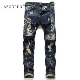 Wholesale designs for jeans resale online – designer ABOORUN Indiana Embroidery Jeans Men s Skinny Ripped Patchwork Jeans Fashion Brand Design for Male