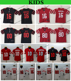 82535175f67 Youth San Francisco Kids 49ers 10 Jimmy Garoppolo 25 Richard Sherman 16 Joe  Montana 80 Jerry Rice Football Jerseys