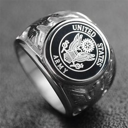 b2a843942447 Stainless Steel Officers United States Marine Corps USMC ring US Navy Ring  USN Military ARMY and AIR FORCE Anchor Men s ring Jewelry