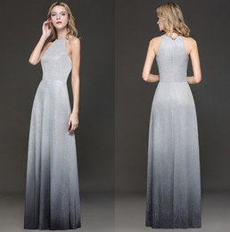 61c38fb9d86 Elegant Halter Sequins Long Prom Dresses 2019 Silver Gray Gradient Color A  Line Floor Length Formal Party Evening Gowns Real Image CPS1245
