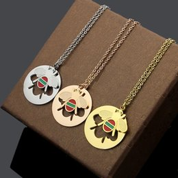 Cloisonne Plates Australia - New Arrive Fashion Lady Titanium steel 18K Plated Gold Necklaces With Round Disk Hollow Out Enamel Bee Pendant 3 Color