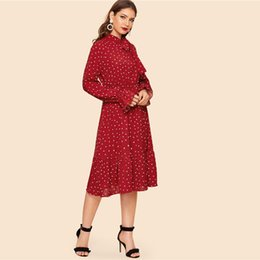 f4b02bdc76 SHEIN Tie Neck Allover Heart Print Ruffle Hem Midi Dress Women Vintage  Stand Collar Flounce Sleeve Burgundy Long Dresses