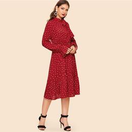 Ties Long NZ - SHEIN Tie Neck Allover Heart Print Ruffle Hem Midi Dress Women Vintage Stand Collar Flounce Sleeve Burgundy Long Dresses