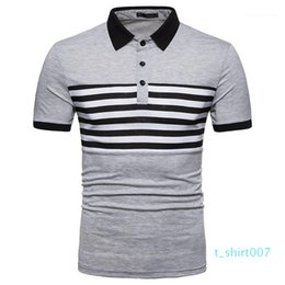 patchwork striped tee NZ - Short Sleeve Tees Slim Fashion Turn Down Collar Mens Tops Mens Designer Striped Patchwork Polos Casual t07
