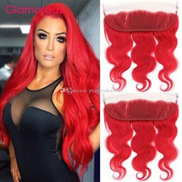 Discount full lace human hair red - Brazilian Red Human Hair Lace Frontal Closure 12-20Inch Hot Red Body Wave Straight 13x4 Ear to Ear Full Lace Frontals