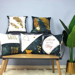 $enCountryForm.capitalKeyWord Australia - Adeeing Retro Style Marbling Hot Stamping Throw Pillow Cover Without Filling