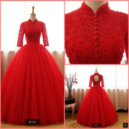 $enCountryForm.capitalKeyWord UK - New designer red lace ball gown prom dresses hollow back sexy corset cheap prom dress beading sequined 3 4 sleeve prom gowns party dresses