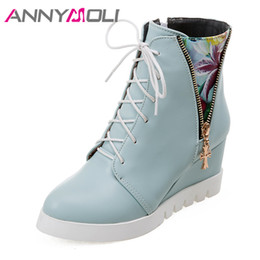 29e968d9d6d1 ANNYMOLI Winter Women Boots Ankle Boots Mixed Colors Platform Wedge High  Heel Short Lace Up High Heel Shoes Ladies Size 43