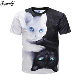 $enCountryForm.capitalKeyWord UK - Joyonly 2018 Summer Boys Girls 3D T shirt Lovely White Black Cat Yin Yang Harajuku Design Children T-shirt Kids Cool Tshirt