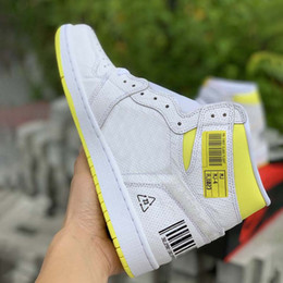 Discount sneakers bar - Newest Fashion Bar Code Design Basketball Shoes 1 1s First Class Flight Mens White Yellow Designer Trainer Sports Sneake