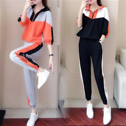 korean sweater pants Australia - Casual sports suit female 2019 new spring and autumn students loose Korean version of the thin fashion foreign gas sweater two-piece