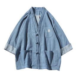 $enCountryForm.capitalKeyWord Australia - M-5XL Korean Style Plus Size Denim Shirt Men Collarless Chinese Traditional Pockets 3 4 Sleeve Vintage Jeans Shirts XXXXXL