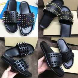 $enCountryForm.capitalKeyWord Australia - Designer Sandals Red Bottom Slippers Mens Black Genuine Leather With Spikes Summer Flat Flip Flops Sandals Comfortable Beach Shoes