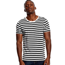 51b4e351f1ad42 Striped Shirt for Men Stripe T Shirt Male Top Tees Navy Russian Red White  Black Blue Boy Even Basic Wide Stripped Cosplay