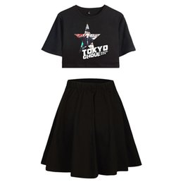 $enCountryForm.capitalKeyWord Australia - Tokyo Ghouls 2D New Clothes Square Up Short Skirt Suit Short sleeve T-shirt and Suit Two Piece Kpop Girl Casual Style Sets