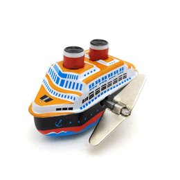 vintage clockwork toys Canada - Vintage Clockwork Wind Up Cruise Ship toys Photography Children Kids Adult Boat Tin Toys Classic Toy Christmas Gift