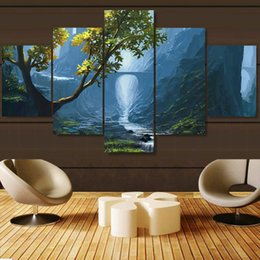 Panels Scenery Canvas Art Prints Australia - Frame Home Decor Living Room HD Printed Painting 5 Panel Mountain Valley Brook Nature Scenery Modern Wall Art Pictures Poster