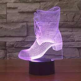 Christmas Gift Shoes Australia - 7 Color Change Sleep 3D Night Light Boots Shape LED Table Lamp USB Kids New Year Gifts Bedside Shoes Lampara Light Fixture Decor