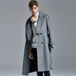 mens double breasted long trench coat NZ - Long Wool Men Trench Luxury Autumn And Winter Double Breasted Mens Jackets And Coats Plus Size 6xl Slim Fit Male Coats