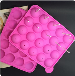 cake pop mold sticks Canada - Eo Friendly Pink Silicone Tray Pop Cake Stick Pops Mould Cupcake Baking Mold Party Kitchen Tools 22.5*4*18cm