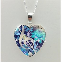 Shaped Glasses Australia - 2019 New Keyboard and Clef Heart Necklace Glass -Clef Pendant Jewelry Piano Heart Shaped Necklace HZ3