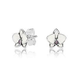 34a3a15d7 White Enamel Magnolia Small flower Earrings for Pandora 925 Sterling Silver  Cute Women Girls Stud Earring Gift box Set