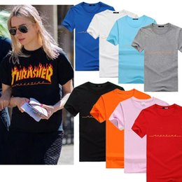 Wholesale Women Fashionable Tops Australia - Hot 8 Colour S-3XL Fashion Mens Womens Magazine Flame Brand O Neck Streetwear T-Shirt Short Sleeve Summer Tops Fashionable Casual Female Tee