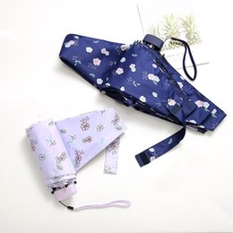 navy umbrellas Australia - Flower Folding Umbrellas For Women Folding UV Protection Rainy Umbrella Small Pocket Umbrella Navy Blue Flower Print Umbrella