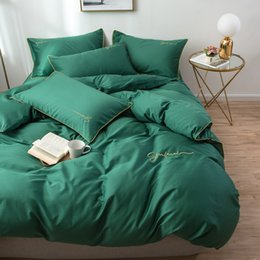 Discount staples beds - 60S Long Stapled Cotton Luxury Style Bed Set Duvet Cover Flat Sheet Fitted Bed Sheet Pillowcases Solid Green Bean Pasted