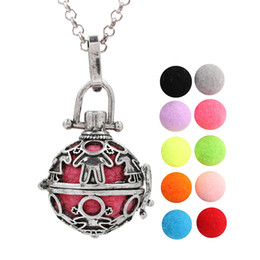$enCountryForm.capitalKeyWord Australia - Antique Silver Cute Baby Essential Oil Diffuser Locket Pendant Angel Bola Mexico Chime Ball Pendant Lava Beads Floating Charms for Women