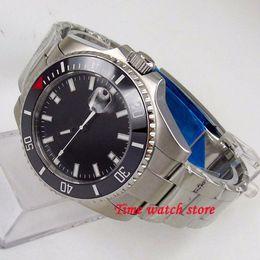 Wrist Watches Logos Australia - 43mm black no logo dial sapphire glass date magnifier bracelet Miyota 8215 Automatic movement wrist watch men's watch 183
