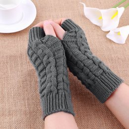 Discount hand knit mittens - Unisex Soft Warm Mitten Knitted Fingerless Autumn Winter Long Stretchy Hand Arm Gloves