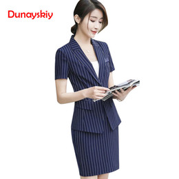 $enCountryForm.capitalKeyWord Australia - Women Summer Spring OL Office Lady Skirt Suits Traditional Classic Striped Short Sleeved Professional Skirts Suit One Button