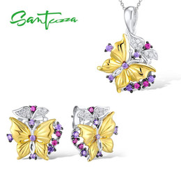 925 Sterling Jewelry Sets Australia - Santuzza Sets Butterfly Created Red Stones Earrings Pendant Necklace 925 Sterling Silver Fashion Jewelry Set J 190514