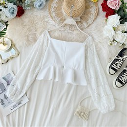 Square Shirt women online shopping - Women Sweet High Waist Retro Square Collar Lace Stitching Long Sleeve Shirt Lady Sexy Solid Color Blouse Tops Camisas Mujer J933