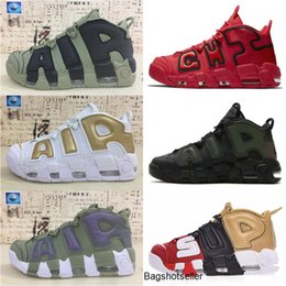 basketball shoes uptempo NZ - Classic Air more 96 QS Olympic Varsity Maroon Kids Mens Basketball Shoes CHI black gold Airs 3M Scottie Pippen Uptempo Sports Sneakers